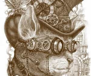 cat, steampunk, and art image