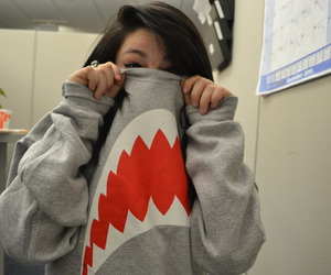 shark, girl, and photography image