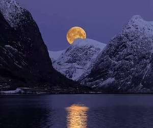 mountains, moon, and nature image