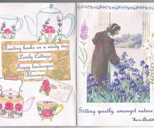 books, flowers, and journal image