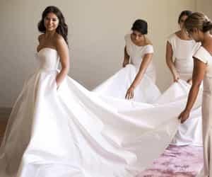 bridal gown, bridal dress, and satin wedding dress image