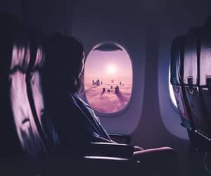 airplane, photography, and purple image