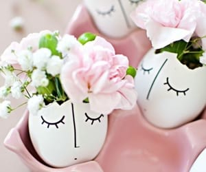 easter, easter eggs, and flowers image