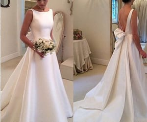open back wedding dress, simply wedding gowns, and 2018 satin wedding dress image
