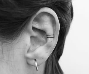 black, black and white, and ear image