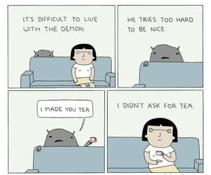 comic, tea, and demon image