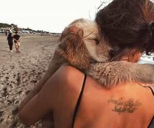 dog, girl, and beach image