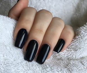 black, nails, and gelnails image