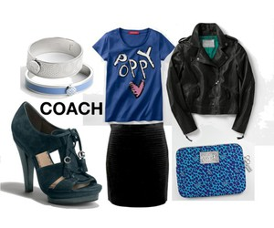 blue, coach, and shoes image