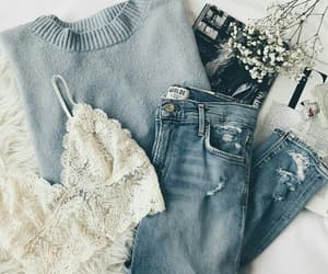 blue, denim, and fashion image