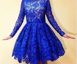 blue dress, lace dress, and party dress image