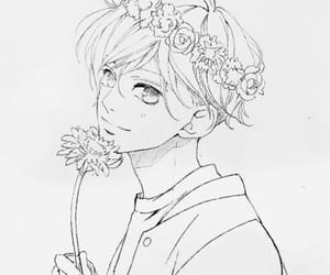 art, boy, and flowers image