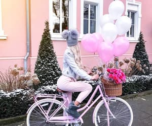 bike, flowers, and girl image