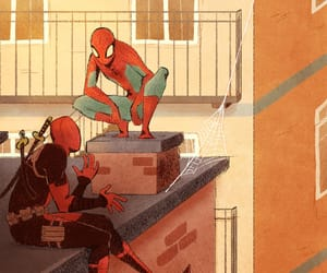 deadpool, Marvel, and spiderman image