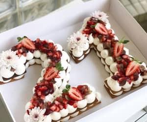 cake, birthday, and strawberry image