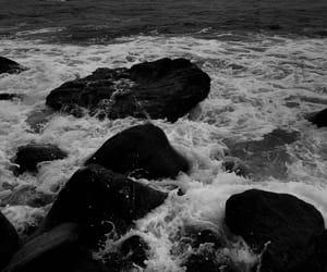 beach, dark, and water image