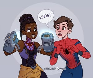 spiderman, peter parker, and shuri image