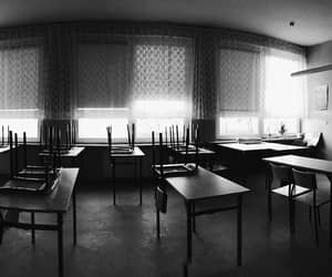 blackandwhite, silent, and classroom image