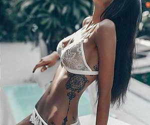 tattoo, lingerie, and white image