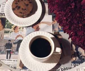 black coffee, Cookies, and flowers image