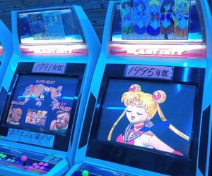 arcade, blue, and sailor moon image
