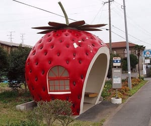strawberry, bus stop, and kawaii image