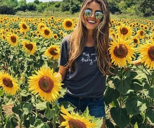 flowers, girl, and sunflowers image