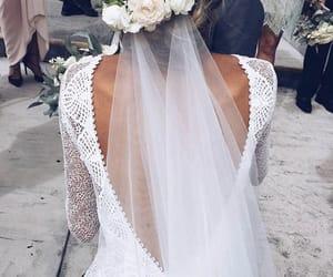wedding, wedding dress, and flowers image