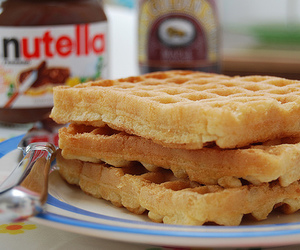 nutella, food, and waffles image