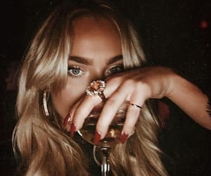 blonde, drink, and jewelry image