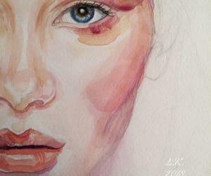 art, portrait, and aquarelle image