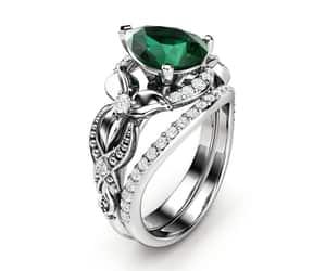 emerald, whitegold, and wedding set image