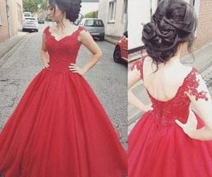 prom dress, red dress, and ball gown dress image