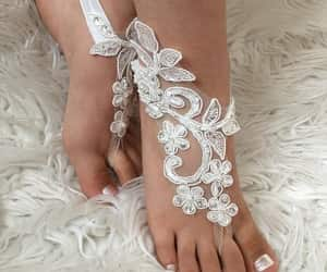 flower girl, footless sandles, and anklet image