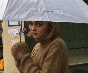 rain, lily rose depp, and umbrella image
