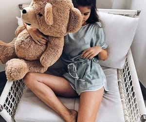 girl, teddy bear, and bear image