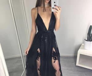 black dress, fashion, and maxi dress image