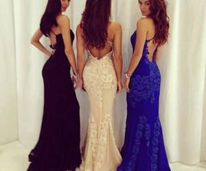 evening dress, backless dress, and lace dress image