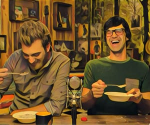 cereal, rhett and link, and laughing image