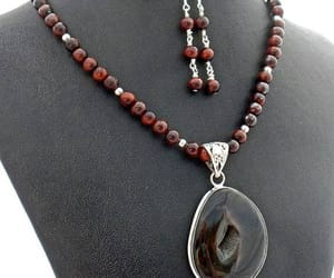beaded necklace, natural stone, and rustic jewelry image