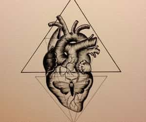 drawing, tattoo, and heart image