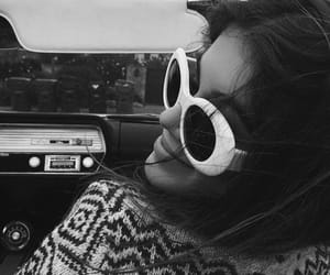 kaia gerber, black and white, and car image