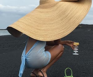 fashion, beach, and hat image