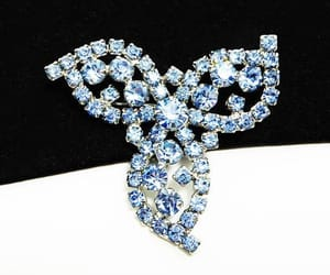 something blue, blue brooch, and blue flowers image