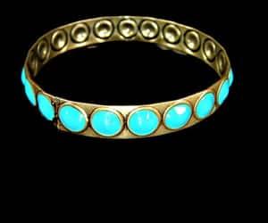 aqua blue, brass bangle, and etsy image