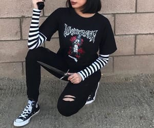 black outfit, grunge aesthetic, and aesthetic outfit image