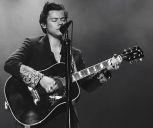 black and white, guitar, and Harry Styles image