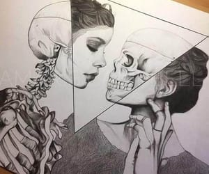 black and white, death, and skull image