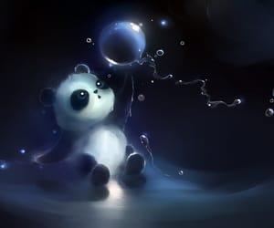 b&w, bubbles, and panda image