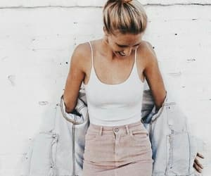 denim, outfit, and pink skirt image
